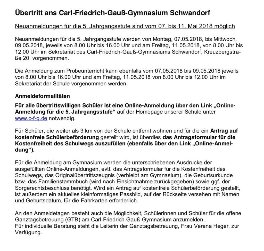 Informationen zum Übertritt an das Carl-Friedrich-Gauß-Gymnasium ...